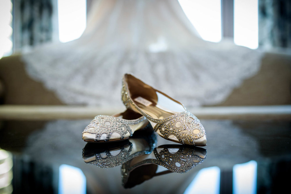 Bride shoe detail photo during Mid America Club wedding Chicago.