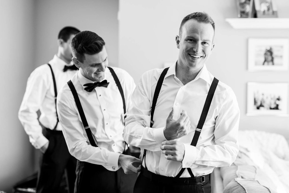 Groom getting ready before his Mid America Club wedding in Chicago.