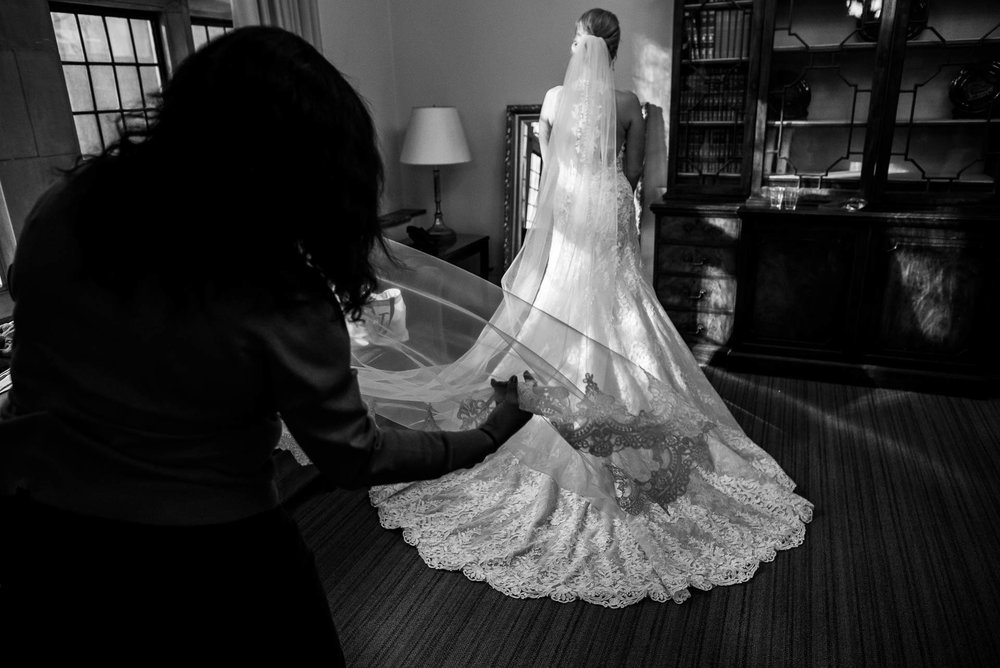 Bride getting ready before the ceremony at Fourth Presbyterian Church in Chicago.
