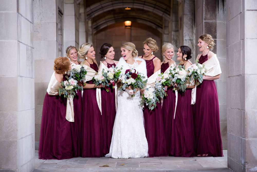 Bridesmaids photo at Fourth Presbyterian Church in Chicago.
