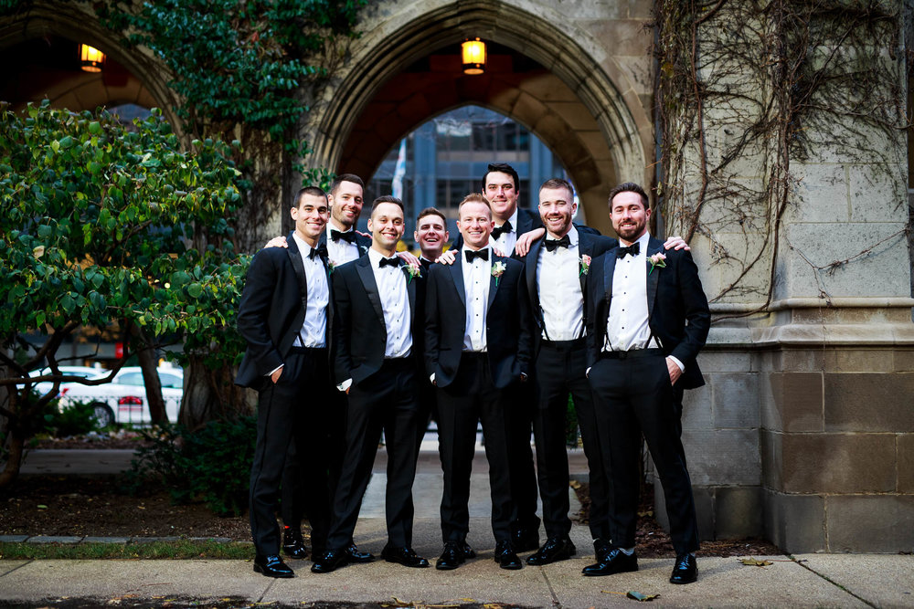 Groomsmen photo at Fourth Presbyterian Church in Chicago.