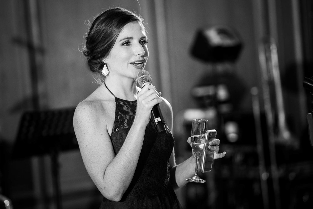 Maid of honor speech during their wedding reception at the Mid America Club in Chicago.