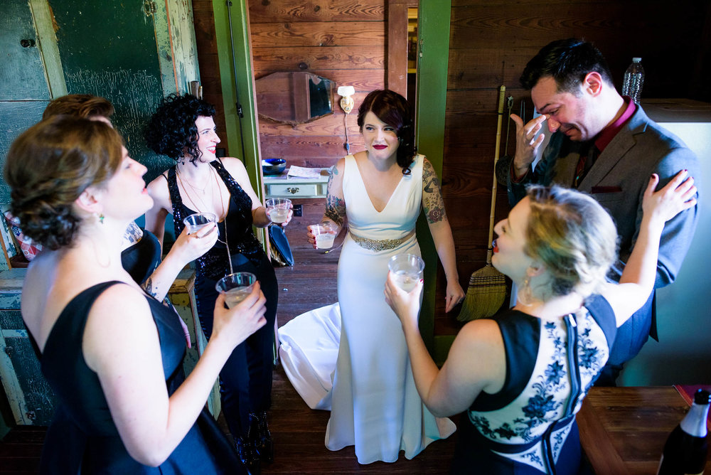 Wedding party champagne toast to the bride during her Montesino Ranch wedding Austin, Texas.