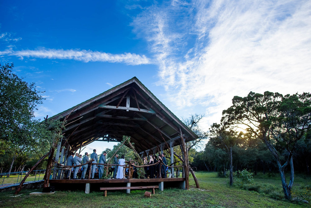 Wedding ceremony at Montesino Ranch, Austin, TX.