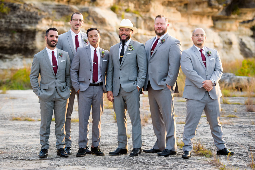Stylish wedding party during a Montesino Ranch wedding Austin, Texas.