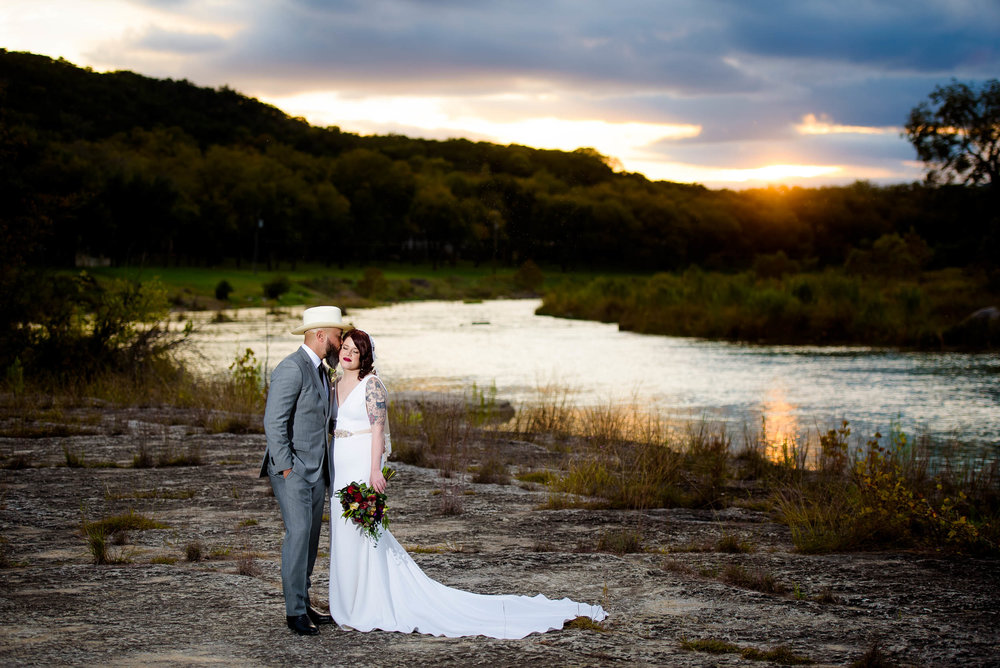 Sunset wedding photo during a Montesino Ranch wedding Austin, Texas.