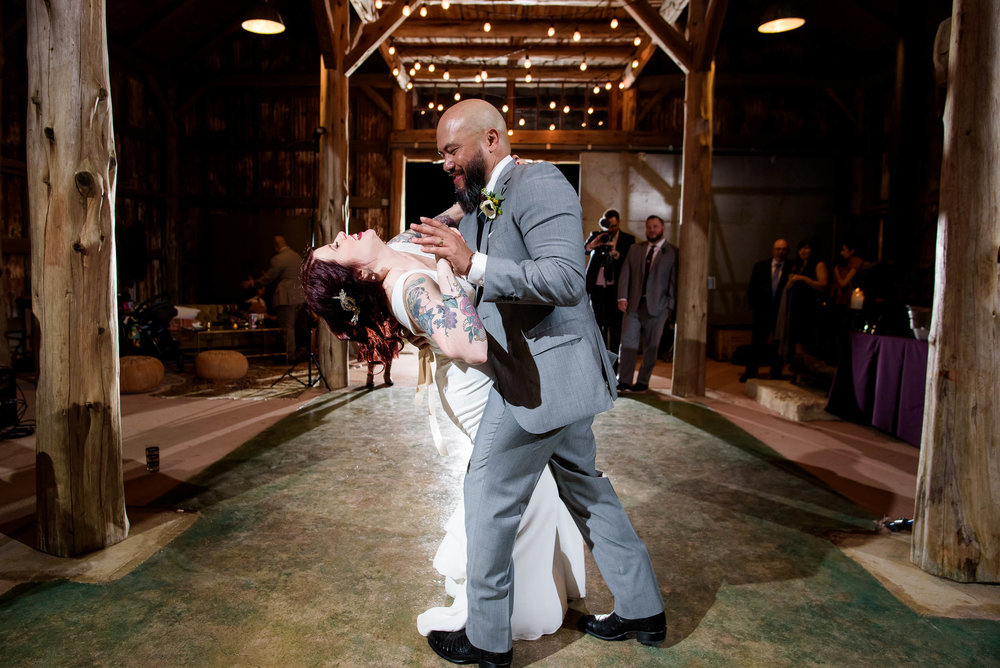 Bride and groom first dance during their Montesino Ranch wedding Austin, Texas.