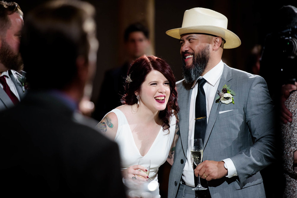 Bride and groom laugh during their Montesino Ranch wedding Austin, Texas.