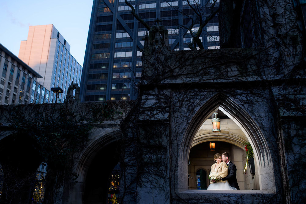 Creative wedding portrait of bride and groom during a Fourth Presbyterian Church Chicago wedding.