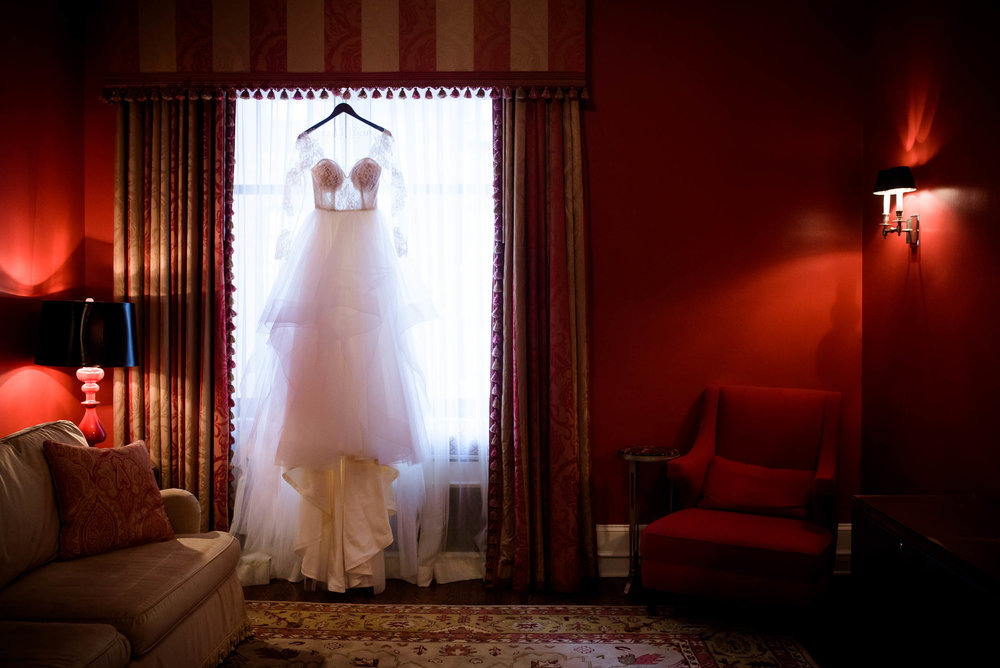 Wedding dress detail during a Blackstone Chicago wedding.