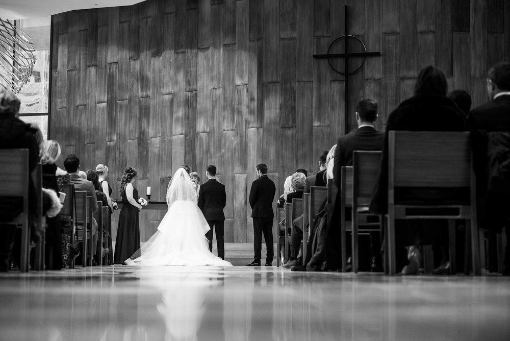 Wedding ceremony at Fourth Presbyterian Church wedding.