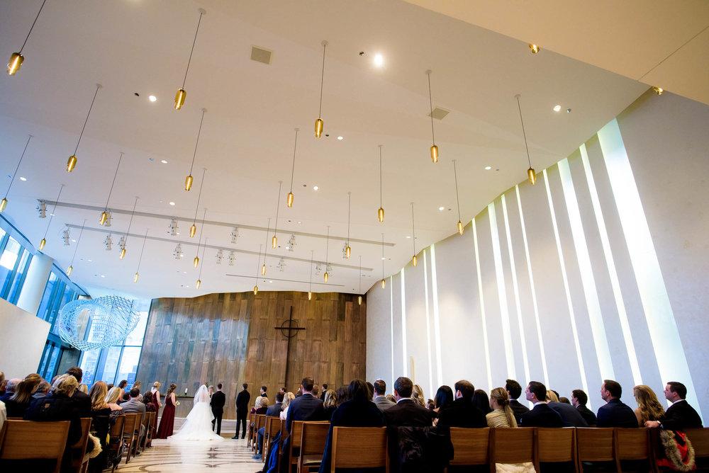 Wedding ceremony at Fourth Presbyterian Church Buchanan Chapel.