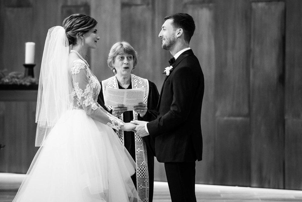 Bride and groom during a Fourth Presbyterian Church wedding.