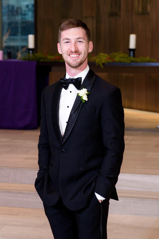 Groom portrait during a Fourth Presbyterian Church wedding.