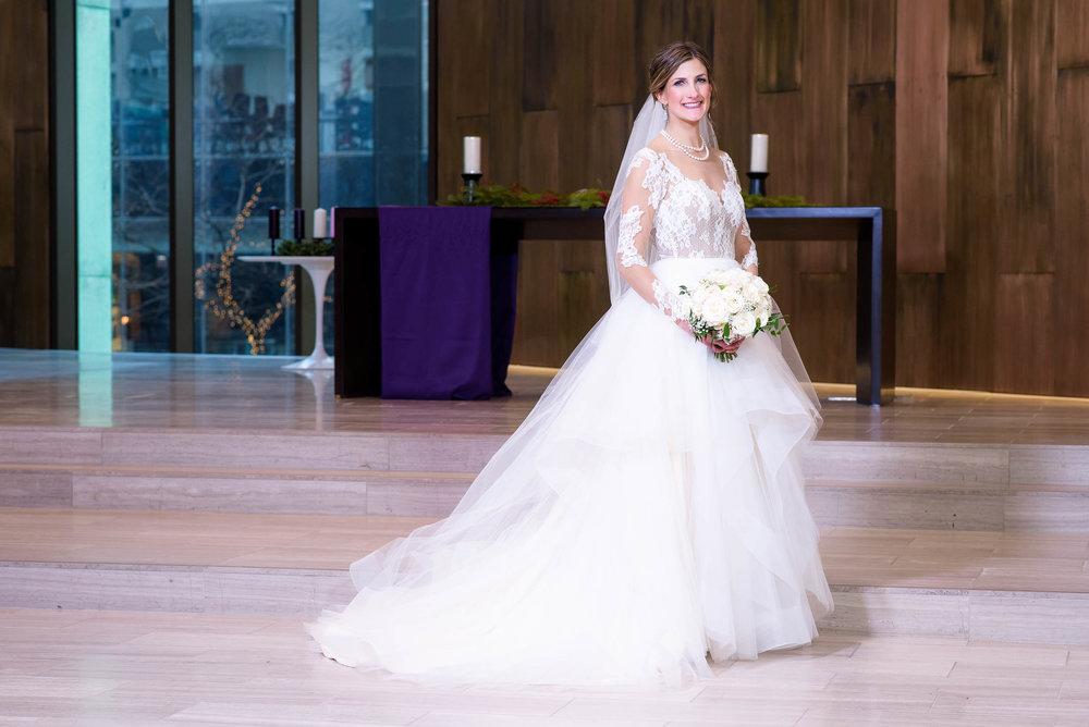 Bride portrait during a Fourth Presbyterian Church wedding.