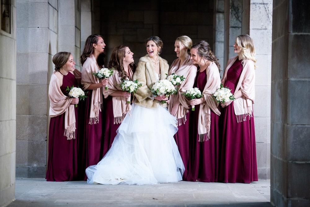 Bridesmaids during a Fourth Presbyterian Church wedding.