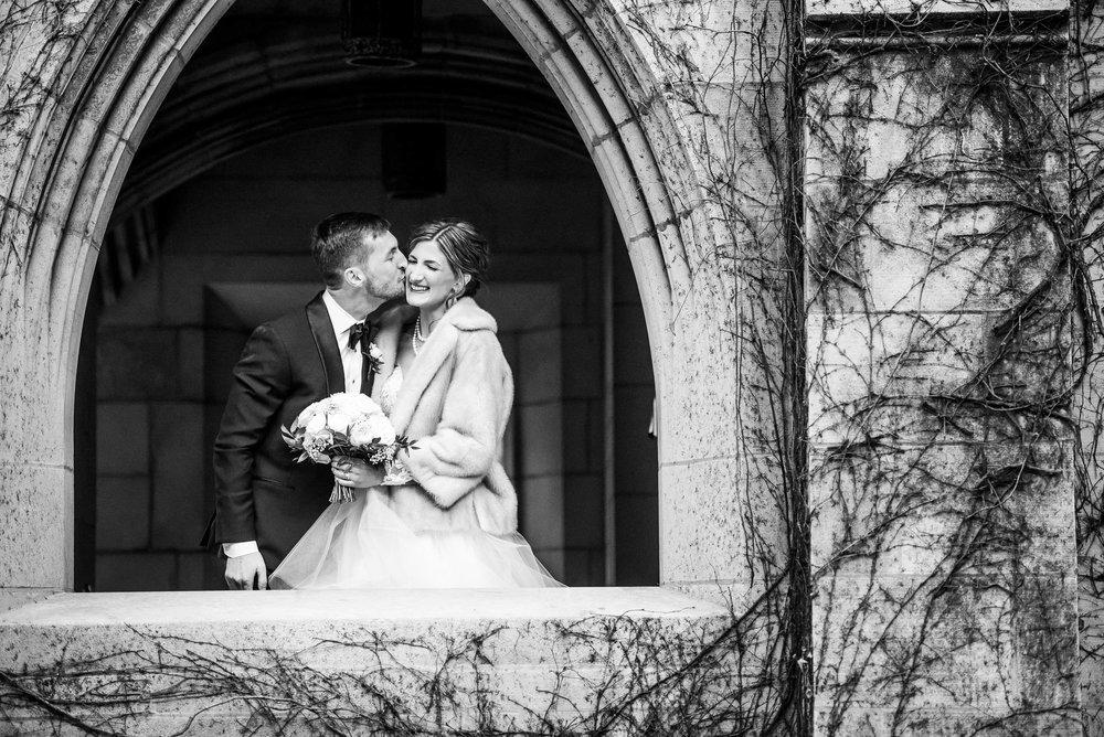 Creative fun wedding day portrait during a Fourth Presbyterian Church wedding.
