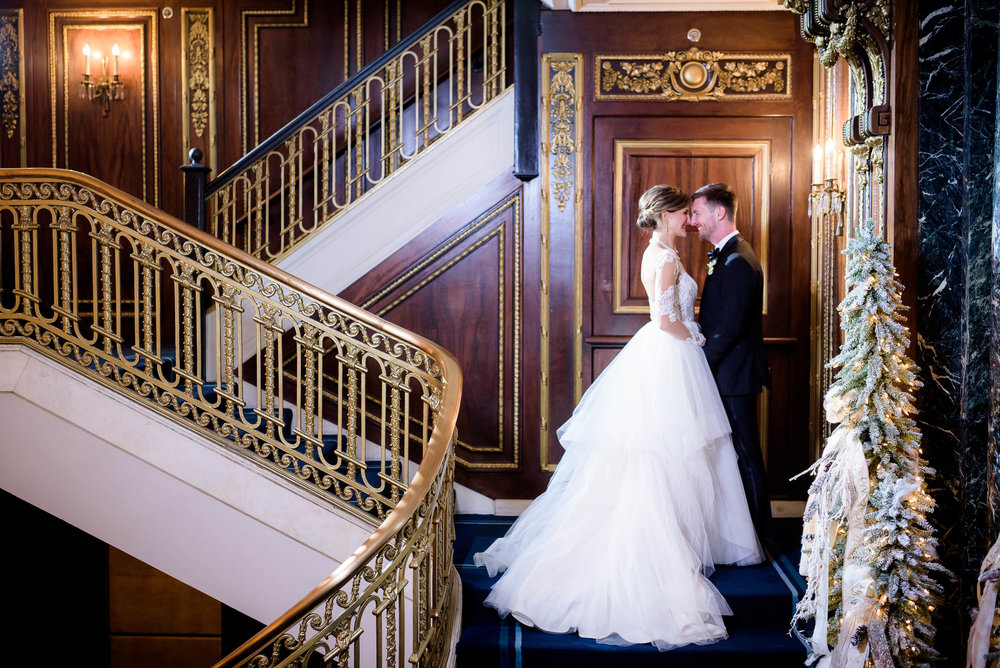 Creative photo of bride and groom at the Blackstone Chicago.