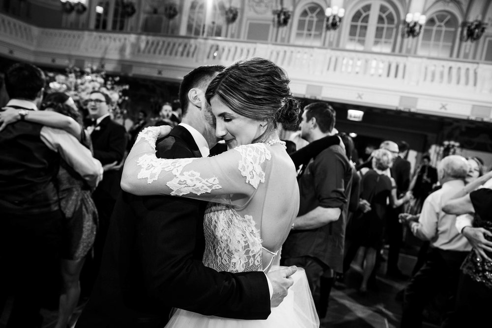 Last photo of the bride and groom during a Blackstone Chicago wedding.