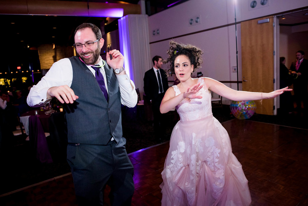 Bride and groom dance floor moment during an Independence Grove Chicago wedding.