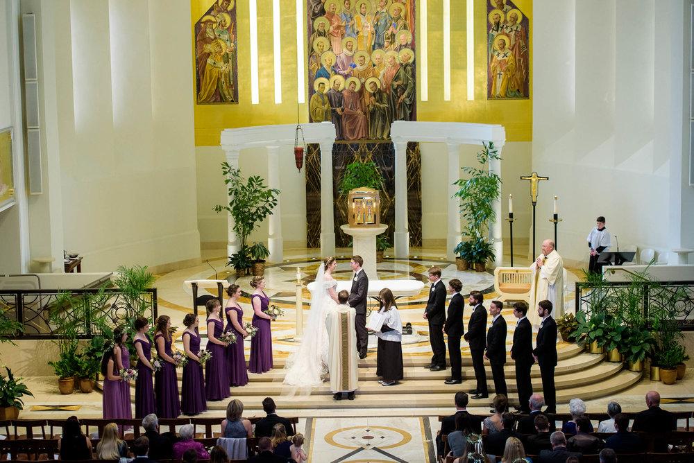 Wedding party during a wedding ceremony at Madonna Della Strada.