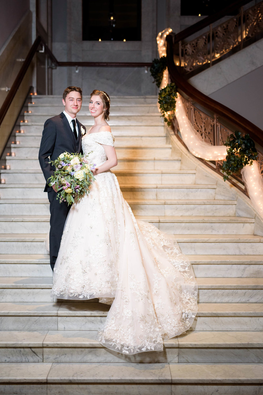 Wedding portrait on the grand staircase during a Newberry Library Chicago wedding.