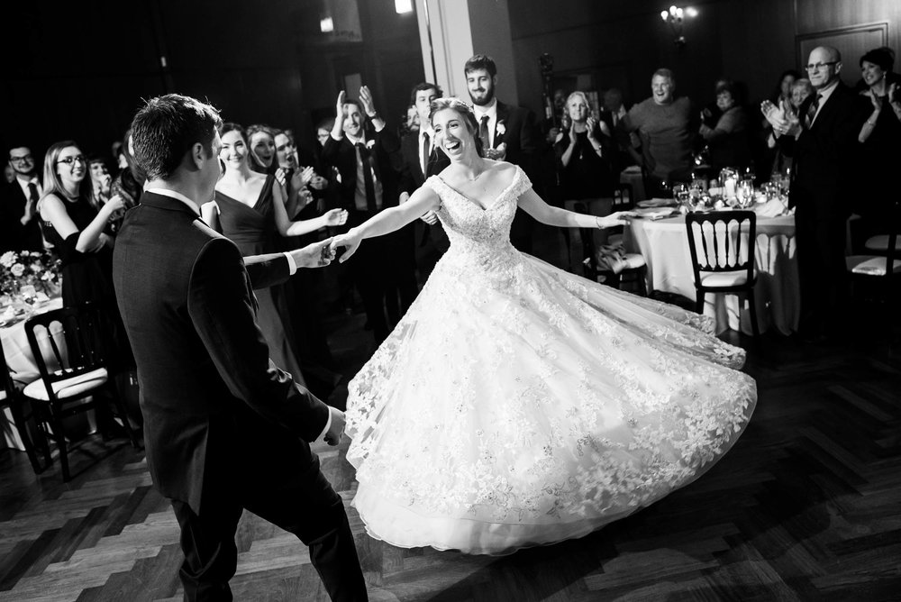 Bride and groom introduction during a Newberry Library Chicago wedding.