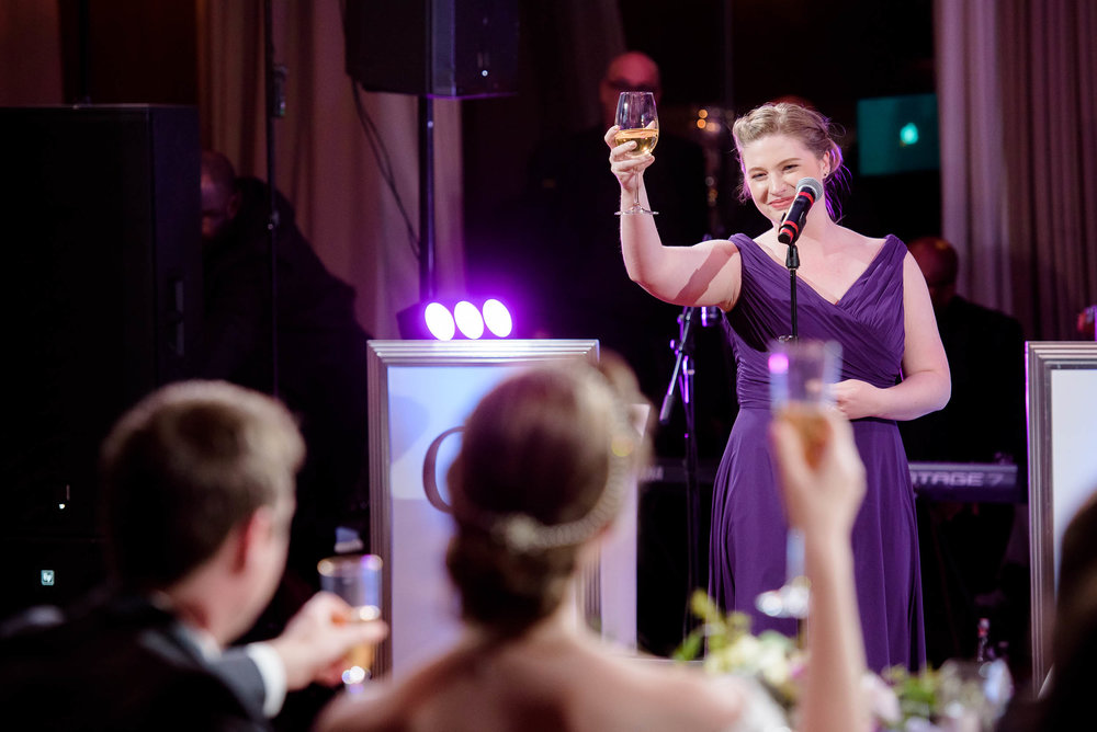 Maid of honor toast during a Newberry Library Chicago wedding.