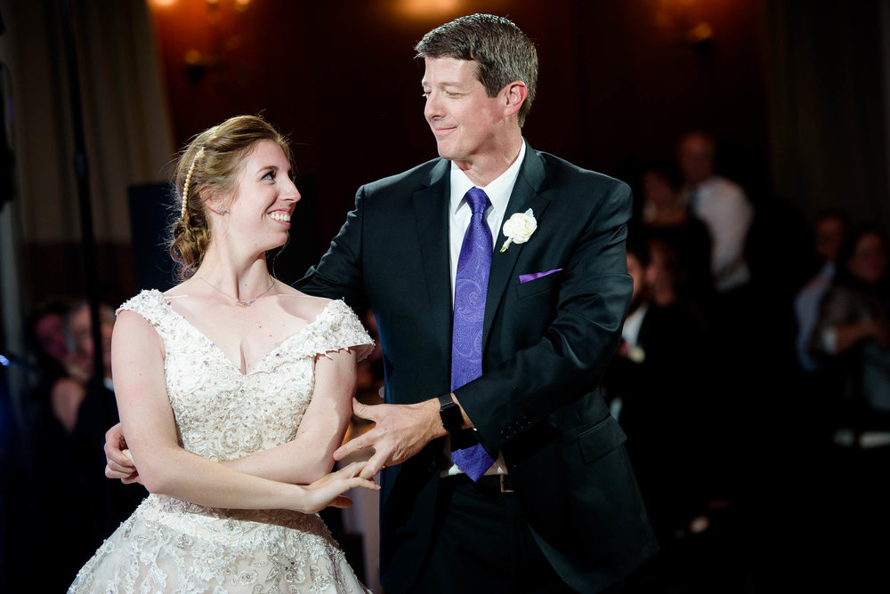 Father daughter dance during a Newberry Library Chicago wedding.