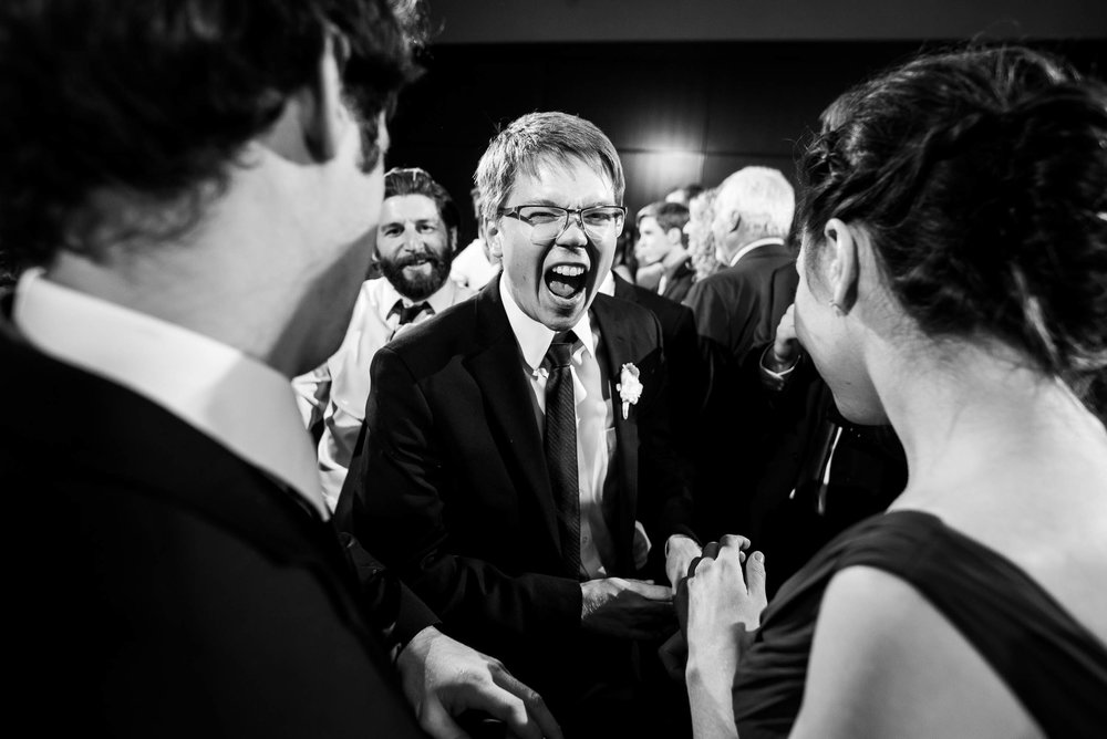 Fun dance floor moment during a Newberry Library Chicago wedding.