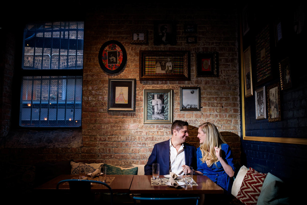 Engagement photo at RM Champagne in Fulton Market Chicago.