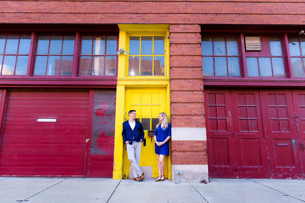 Fulton Market engagement photo outside the Mars Gallery Chicago.