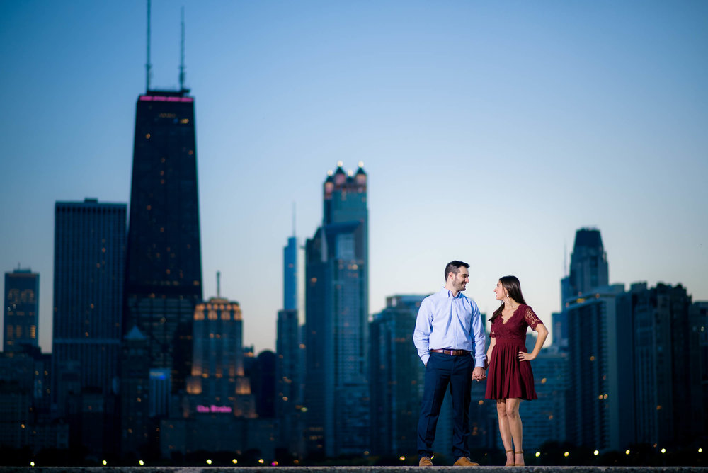 Fall Chicago engagement session at North Avenue Beach.
