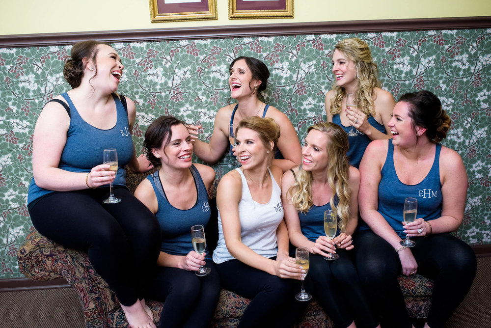 Bridesmaids having fun during a Glessner House Chicago wedding.