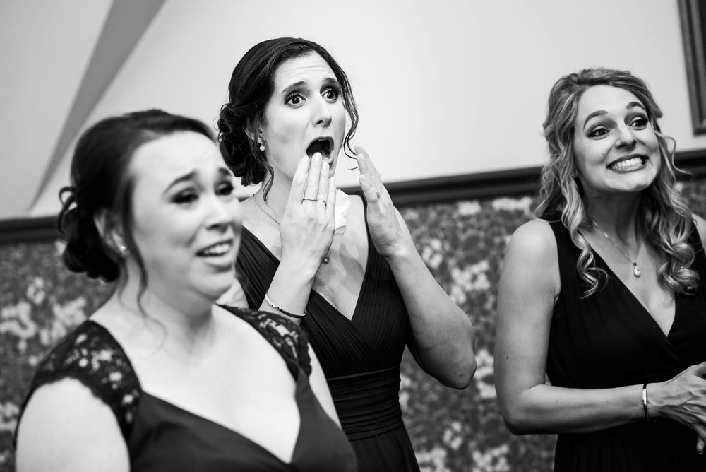 Bridesmaids react to seeing the bride during a Glessner House Chicago wedding.