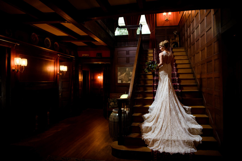 Creative bridal portrait during a Glessner House Chicago wedding.