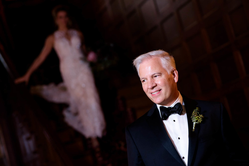Father of the bride first look during a Glessner House Chicago wedding.