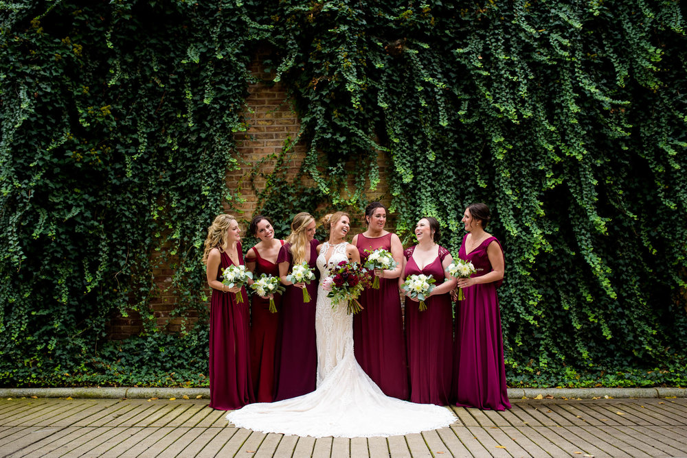 Bridesmaids portrait during a Glessner House Chicago wedding.