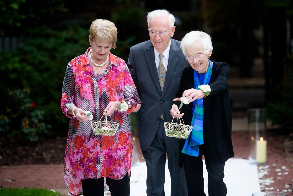 Grandparents act as the flower girls during a Glessner House Chicago wedding.