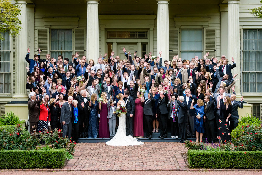 All wedding guest group portrait at the Chicago Women's Park.