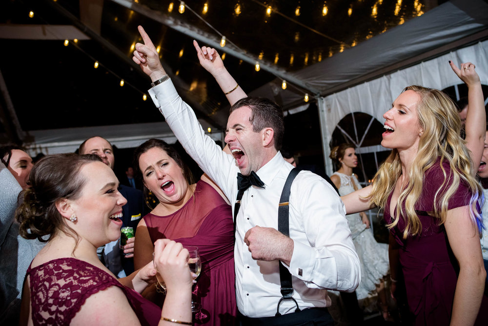 Groom on the dance floor during a Glessner House Chicago wedding reception.
