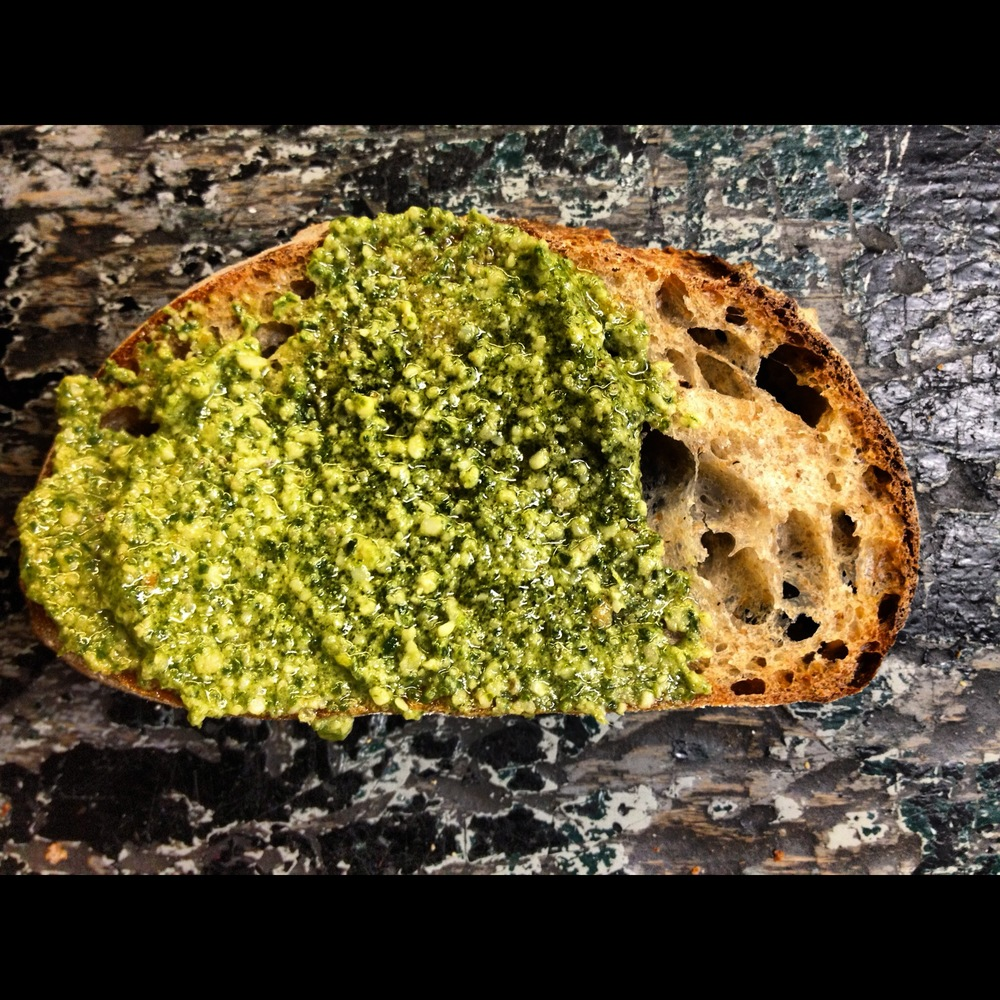 Garlic Mustard Pesto smeared on BK17 Lumberjane Loaf.