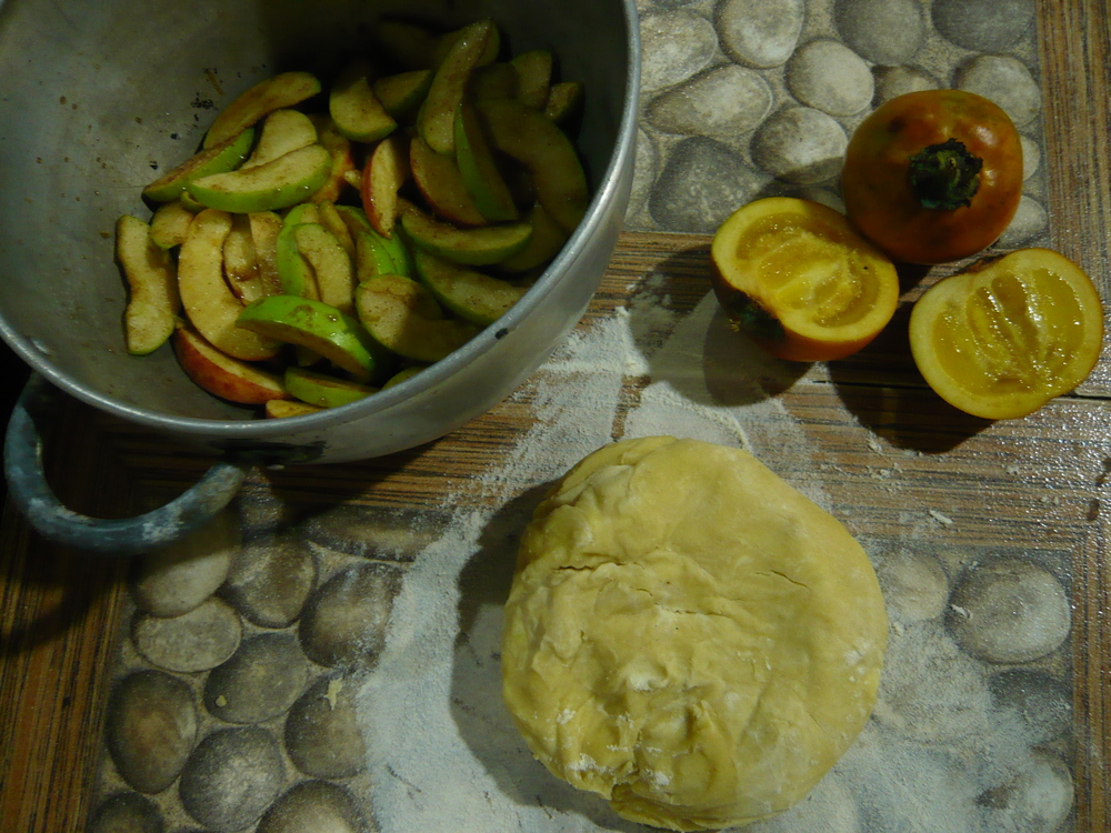 The makings of an apple tart with naranjillo, cinnamon, ginger, and local honey.