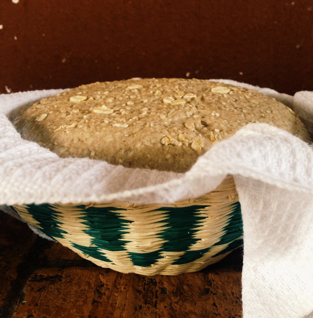 Handwoven baskets from the local mercado are perfect for proofing bread. With a 3.5 hour bulk fermentation and an overnight cold retardation, the dough was puffy and ready to be loaded into the clay baker.