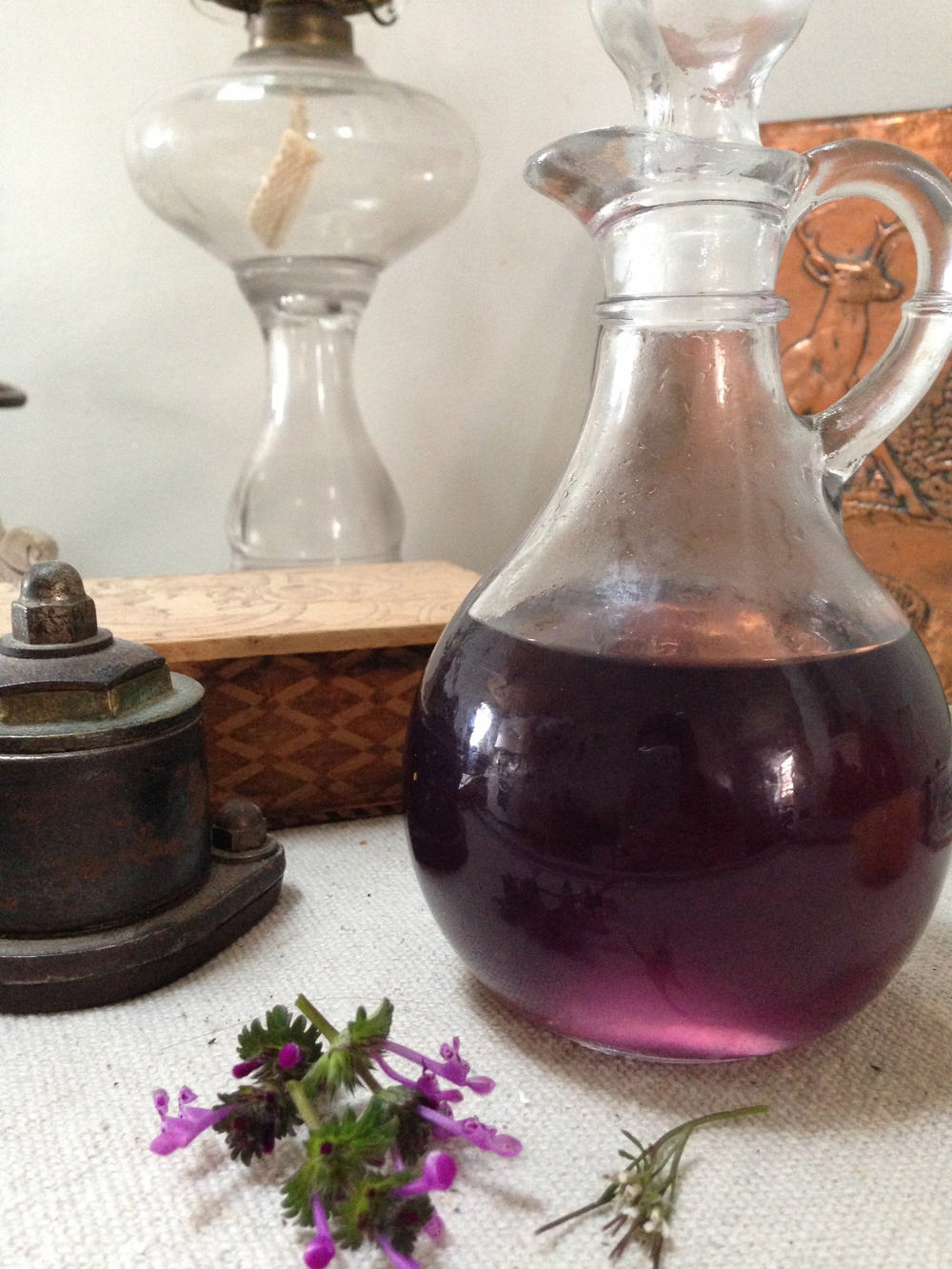 Viola  syrup with edible henbit and pepperweed.