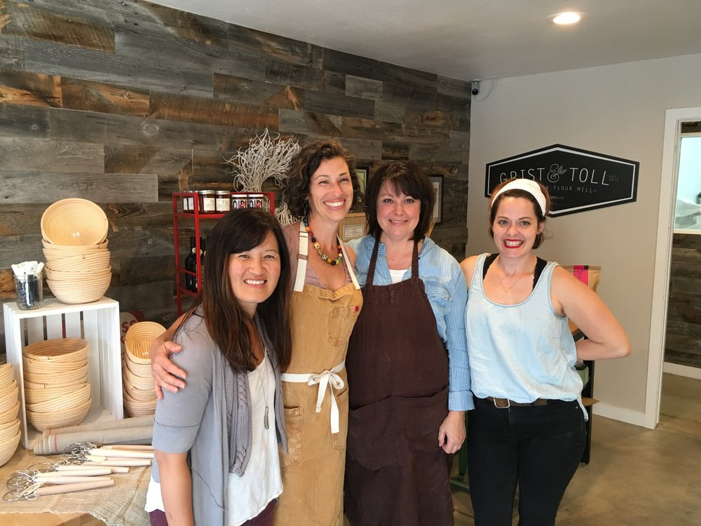 The future is female. L to R: Min Kim of Biodynamic Wellness, author and baker Sarah Owens, Nan Kohler of Grist & Toll, Rose Lawrence of Redbread.