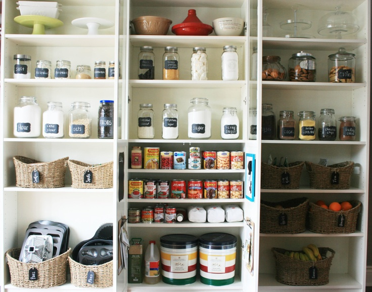 This is a great pantry remodel/organization project done with IKEA shelving.  {Source}