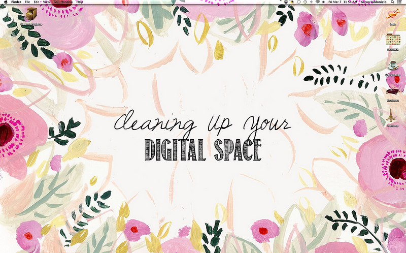 "My digital space looking as springy as ever thanks to the lovely Bri Emery over at designlovefest!  You can grab your own hand painted, floral desktop here or you can browse her ""dress your tech"" category and find another one that strikes your fancy!  Either way, you have to get one because they're just beyond adorable!"
