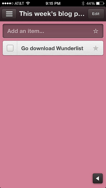 This is the right-hand panel of the Wunderlist app that is highlighted when a list is selected, and this is where all the items you have nested within a list will pop up.  Checking them off is the best part...