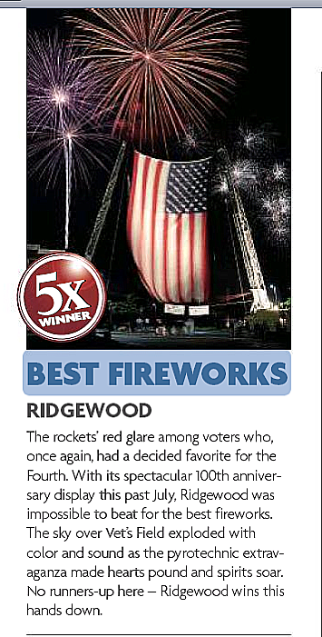 Fireworks Extravagnaza has done the Ridgewood NJ, July 4th Display for five years. Voted the best fireworks in New Jersey many times.